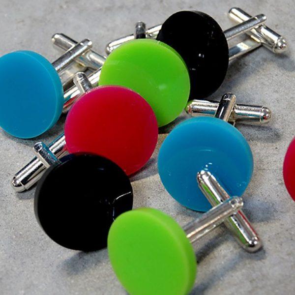 multi-coloured perspex cufflinks by factory floor jewels